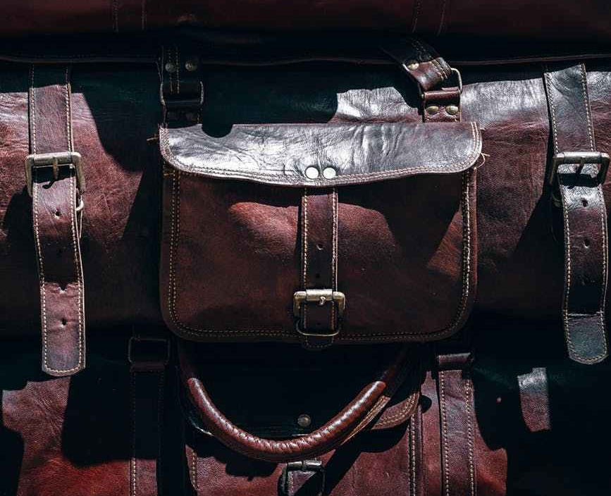 image of brown leather luggage