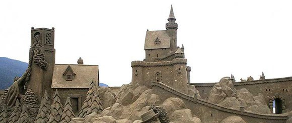 massive sandcastle with walls